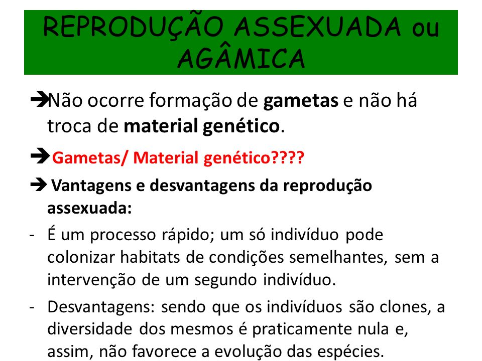 REPRODUÇÃO ASSEXUADA ou AGÂMICA