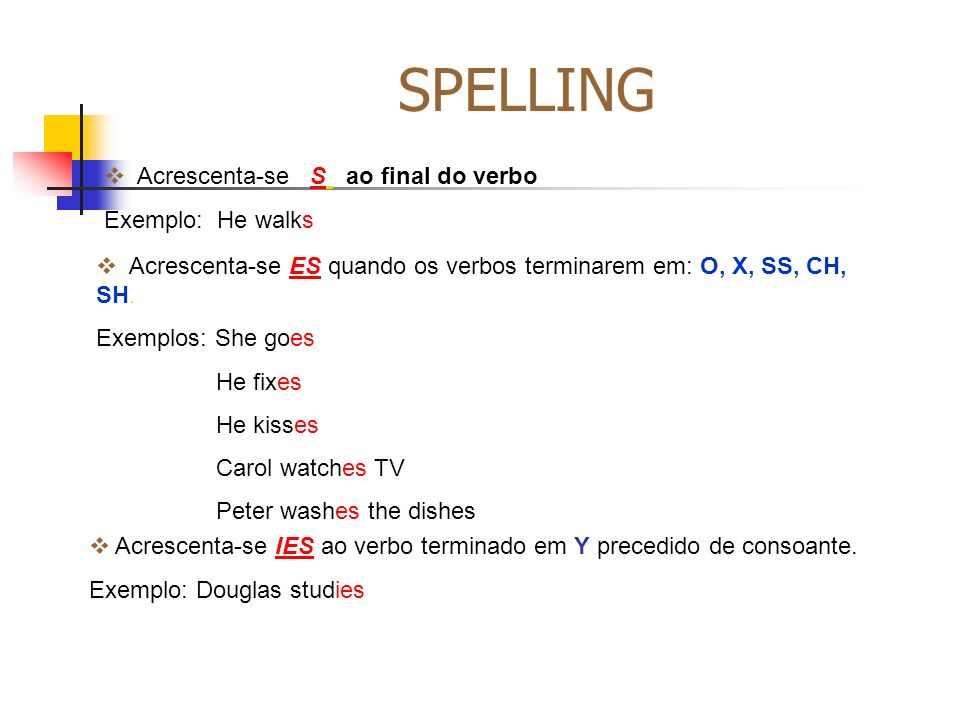 SPELLING Acrescenta-se S ao final do verbo Exemplo: He walks