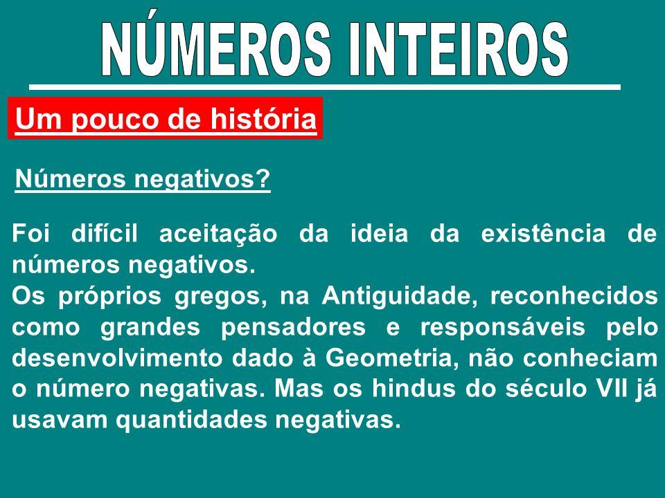 NÚMEROS INTEIROS Um pouco de história Números negativos