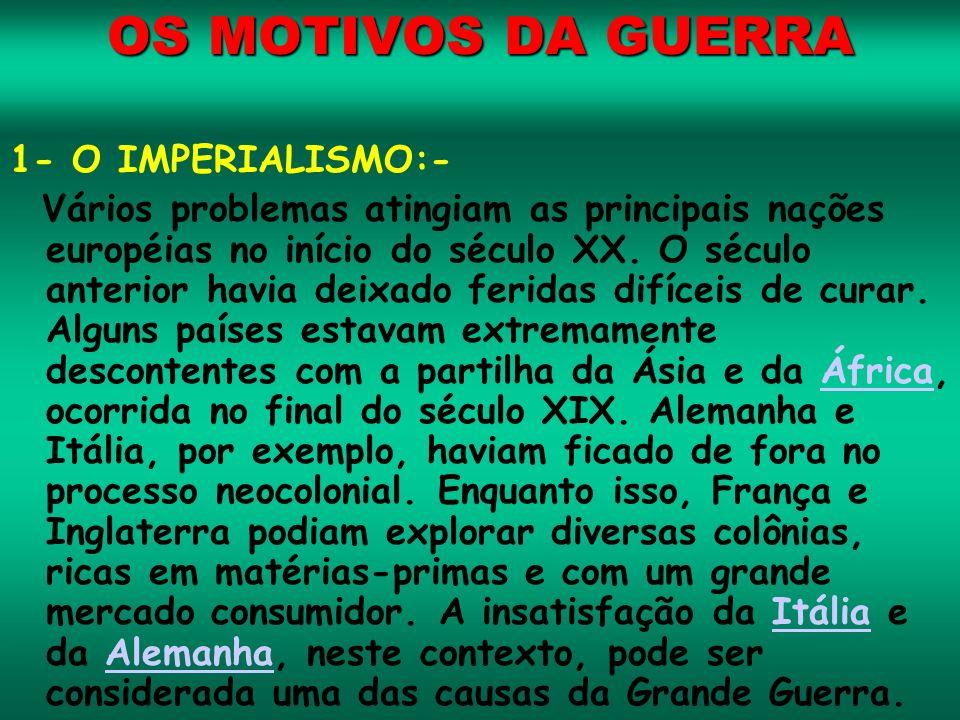 OS MOTIVOS DA GUERRA 1- O IMPERIALISMO:-