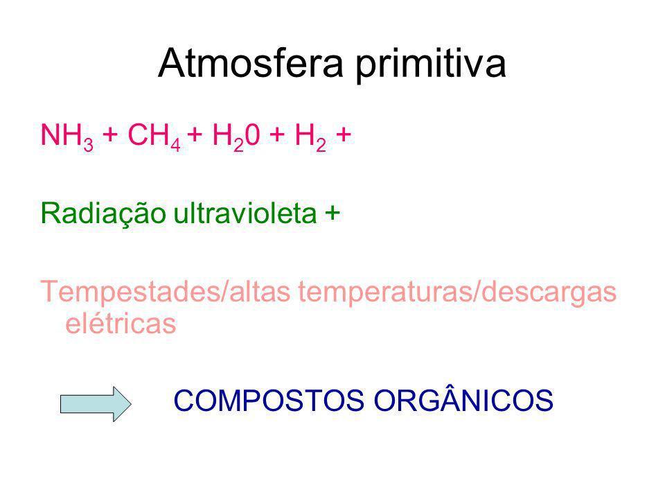 Atmosfera primitiva NH3 + CH4 + H20 + H2 + Radiação ultravioleta +