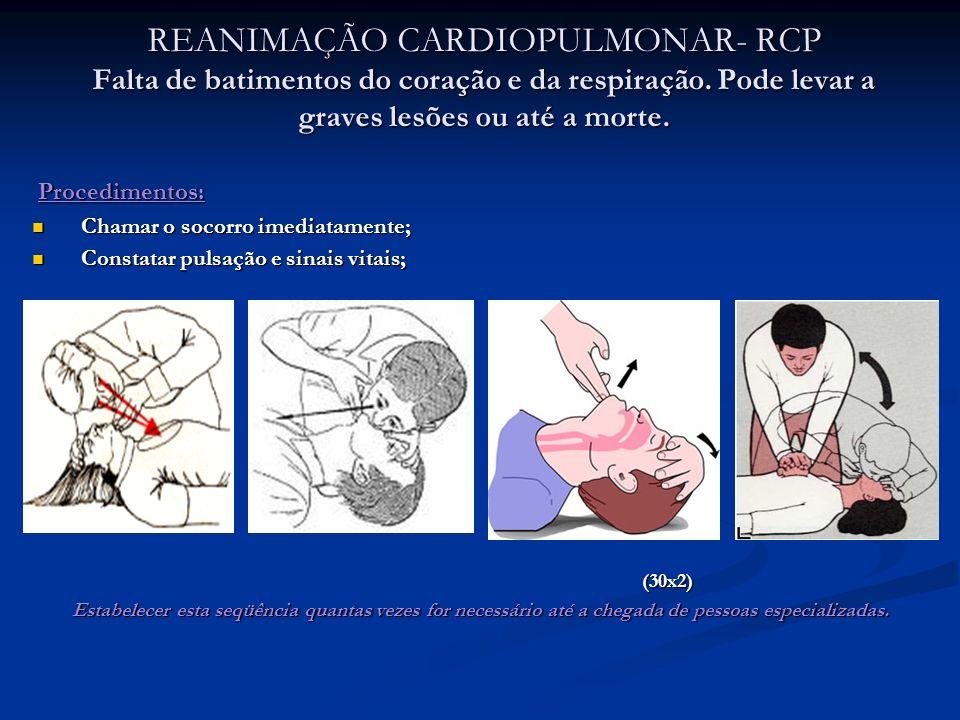 REANIMAÇÃO CARDIOPULMONAR- RCP Falta de batimentos do coração e da respiração. Pode levar a graves lesões ou até a morte.