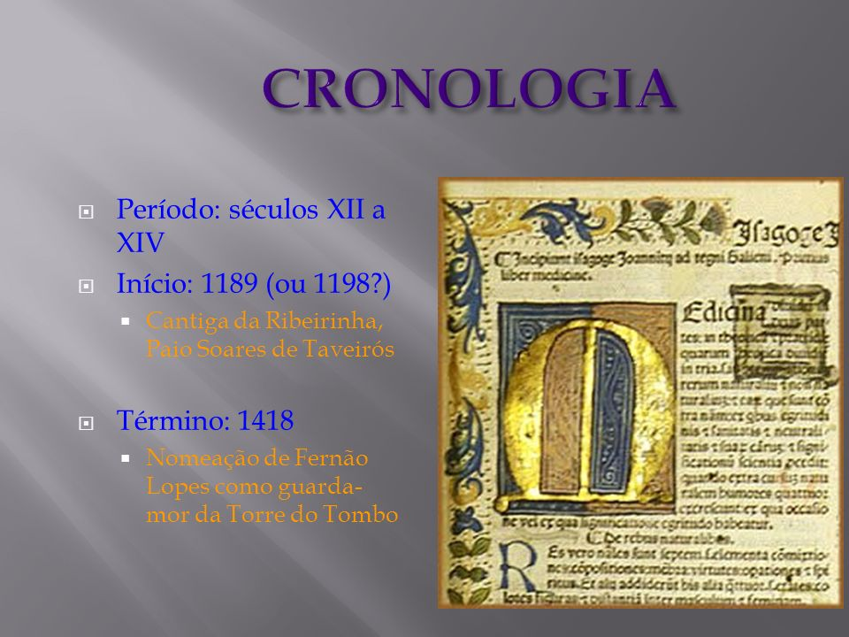 CRONOLOGIA Período: séculos XII a XIV Início: 1189 (ou 1198 )
