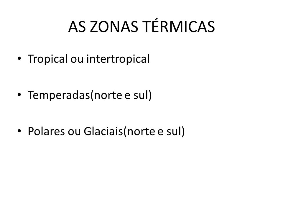 AS ZONAS TÉRMICAS Tropical ou intertropical Temperadas(norte e sul)