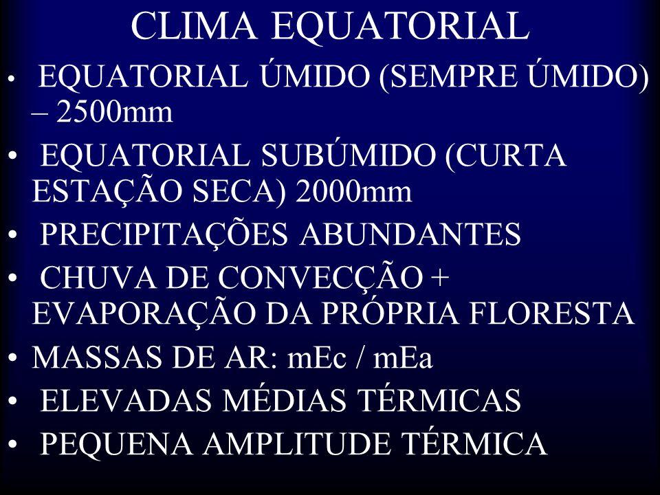 CLIMA EQUATORIAL EQUATORIAL SUBÚMIDO (CURTA ESTAÇÃO SECA) 2000mm