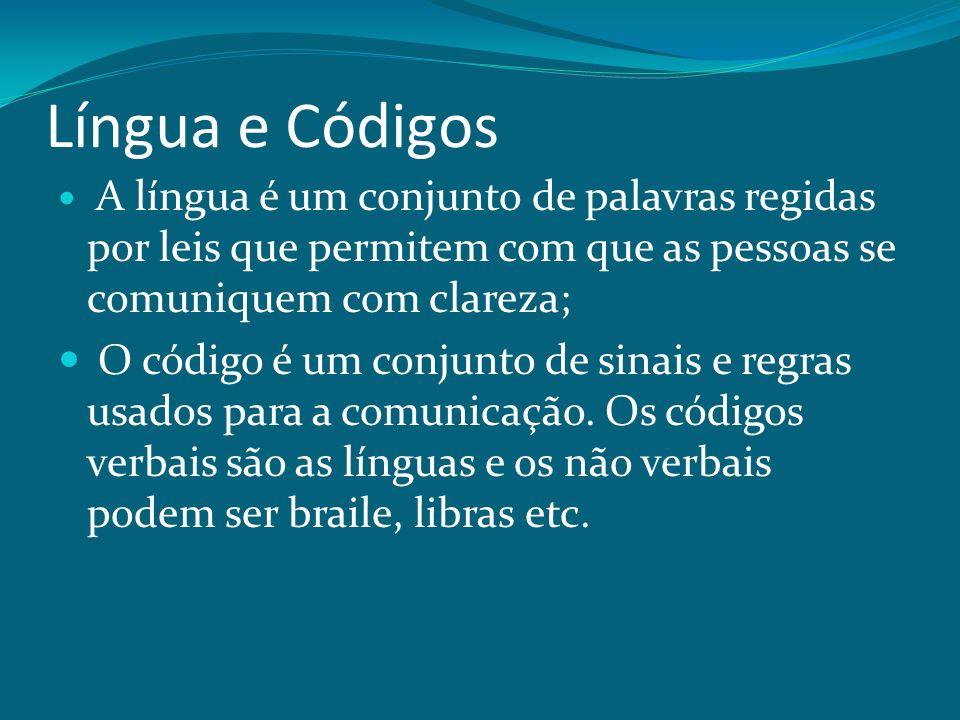 Língua e Códigos A língua é um conjunto de palavras regidas por leis que permitem com que as pessoas se comuniquem com clareza;