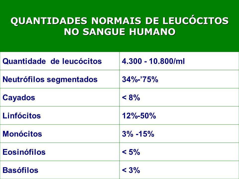 QUANTIDADES NORMAIS DE LEUCÓCITOS NO SANGUE HUMANO