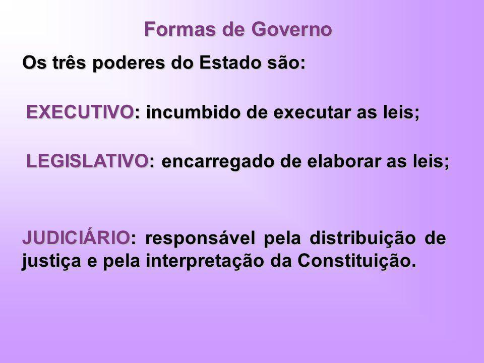 Formas de Governo Os três poderes do Estado são: