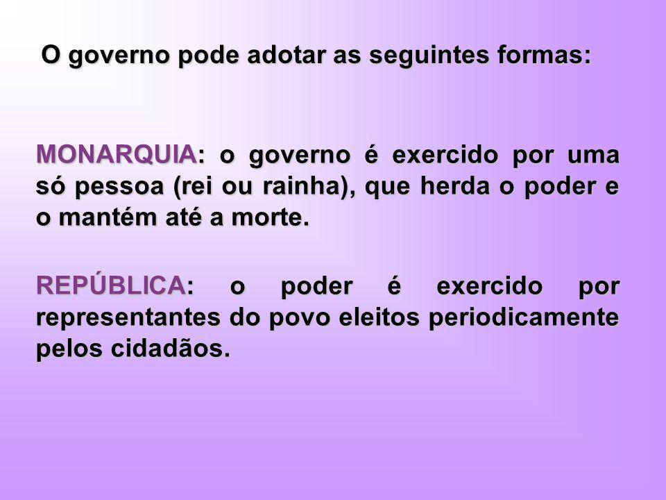 O governo pode adotar as seguintes formas: