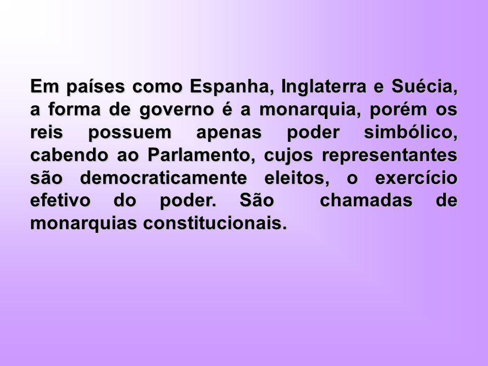 Em países como Espanha, Inglaterra e Suécia, a forma de governo é a monarquia, porém os reis possuem apenas poder simbólico, cabendo ao Parlamento, cujos representantes são democraticamente eleitos, o exercício efetivo do poder.