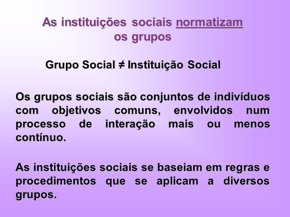 As instituições sociais normatizam os grupos