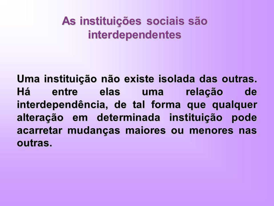 As instituições sociais são interdependentes