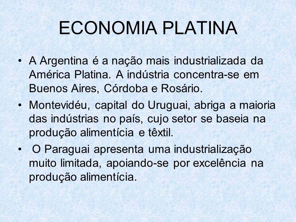 ECONOMIA PLATINA A Argentina é a nação mais industrializada da América Platina. A indústria concentra-se em Buenos Aires, Córdoba e Rosário.