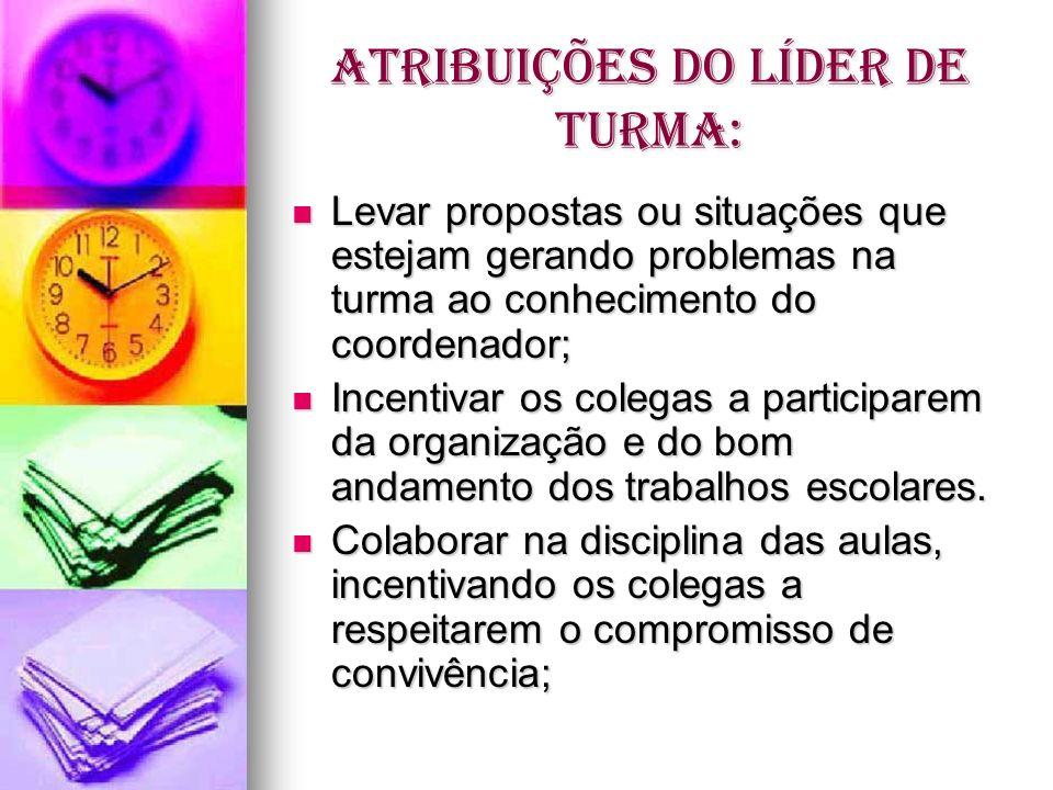 ATRIBUIÇÕES DO LÍDER DE TURMA: