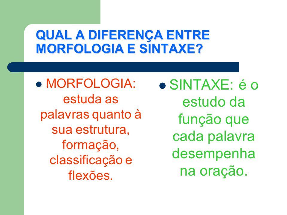 QUAL A DIFERENÇA ENTRE MORFOLOGIA E SINTAXE