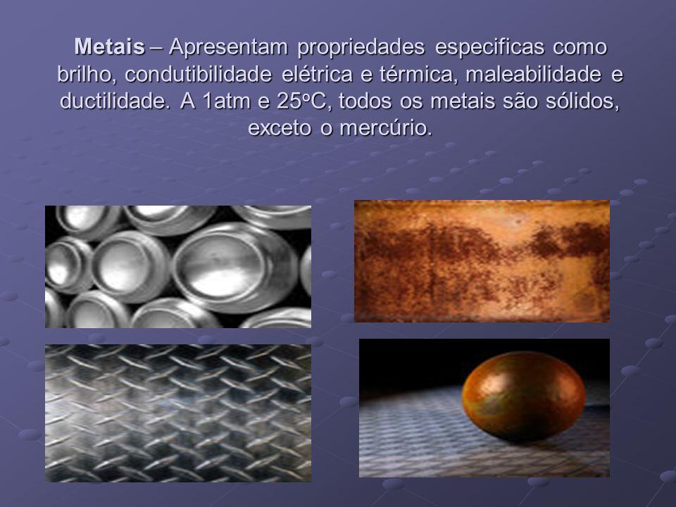 Metais – Apresentam propriedades especificas como brilho, condutibilidade elétrica e térmica, maleabilidade e ductilidade.