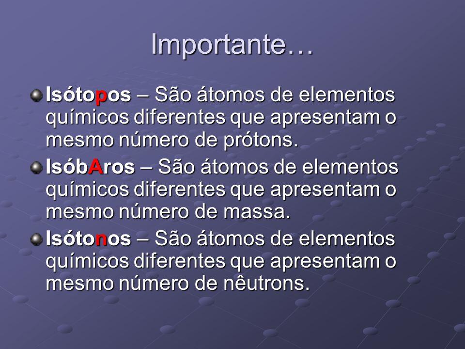 Importante… Isótopos – São átomos de elementos químicos diferentes que apresentam o mesmo número de prótons.