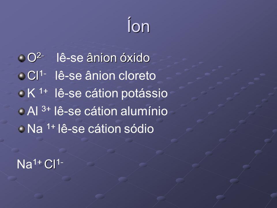 Íon O2- lê-se ânion óxido Cl1- lê-se ânion cloreto