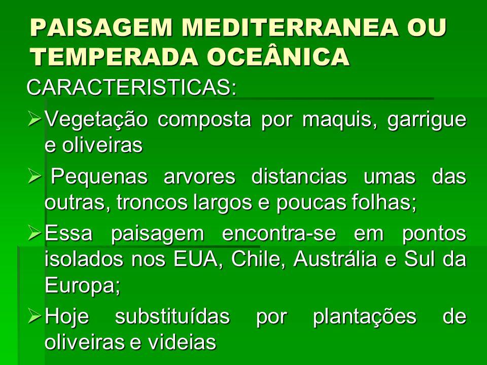PAISAGEM MEDITERRANEA OU TEMPERADA OCEÂNICA