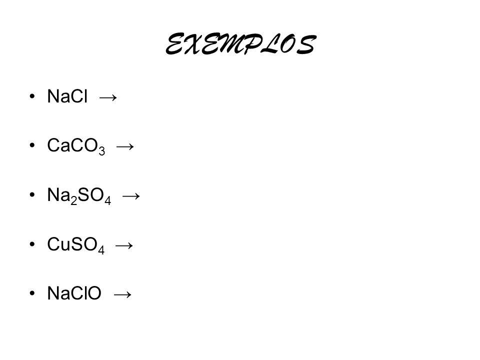 EXEMPLOS NaCl → CaCO3 → Na2SO4 → CuSO4 → NaClO →