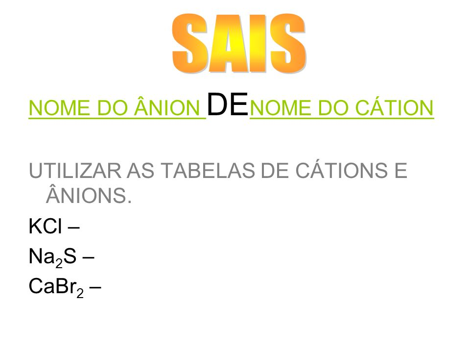SAIS NOME DO ÂNION DENOME DO CÁTION