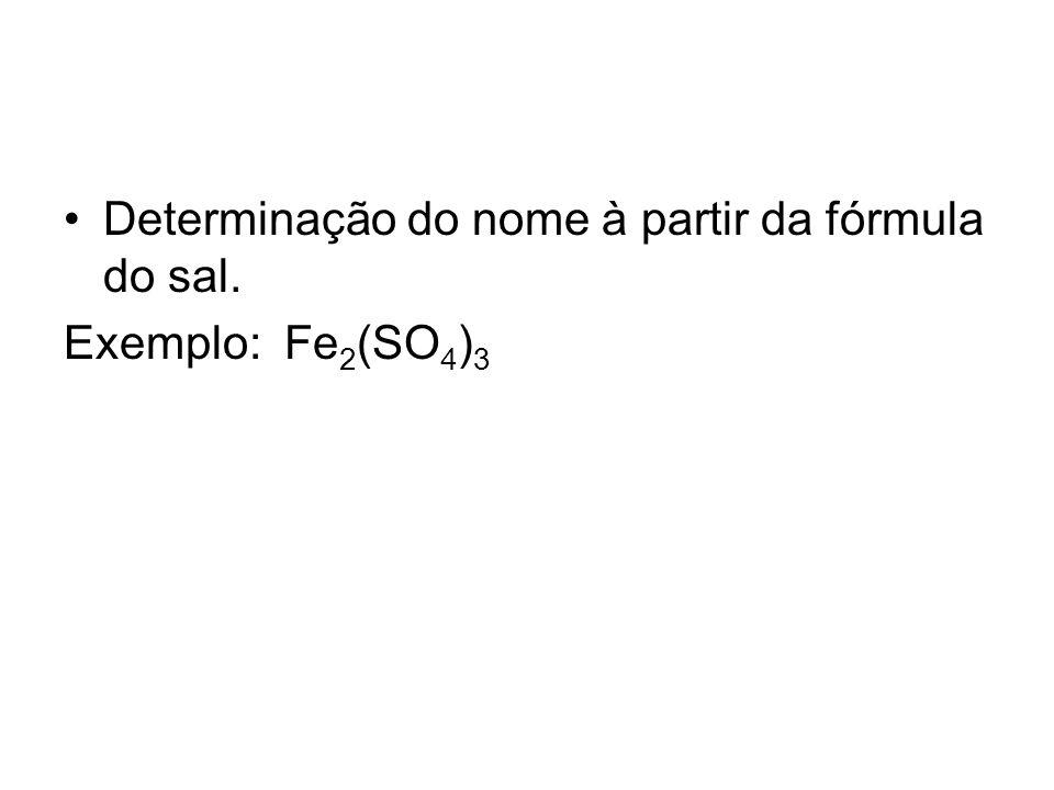 Determinação do nome à partir da fórmula do sal.