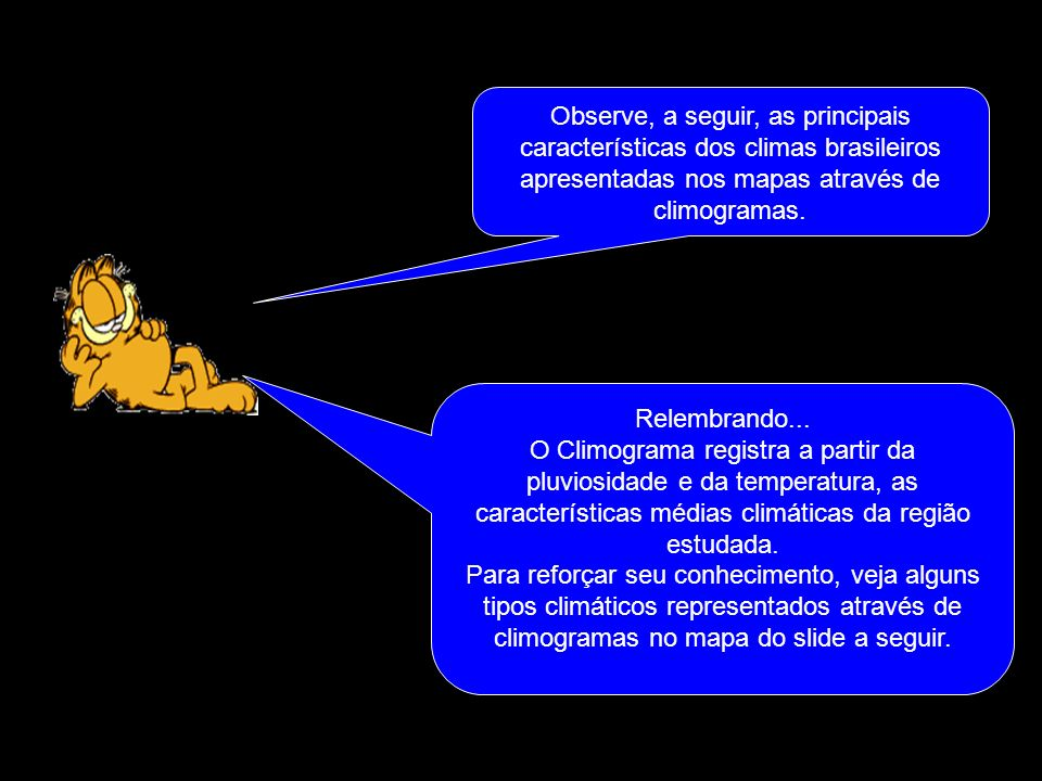 Observe, a seguir, as principais características dos climas brasileiros apresentadas nos mapas através de climogramas.