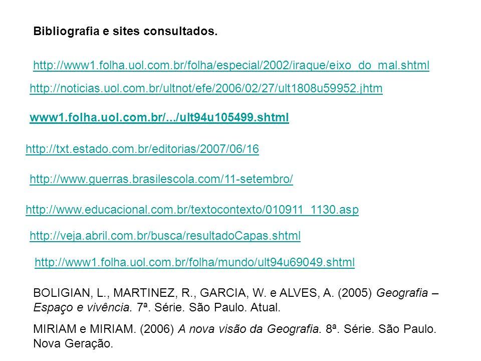 Bibliografia e sites consultados.