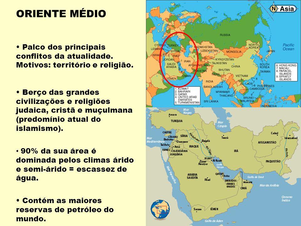ORIENTE MÉDIO Palco dos principais conflitos da atualidade. Motivos: território e religião.