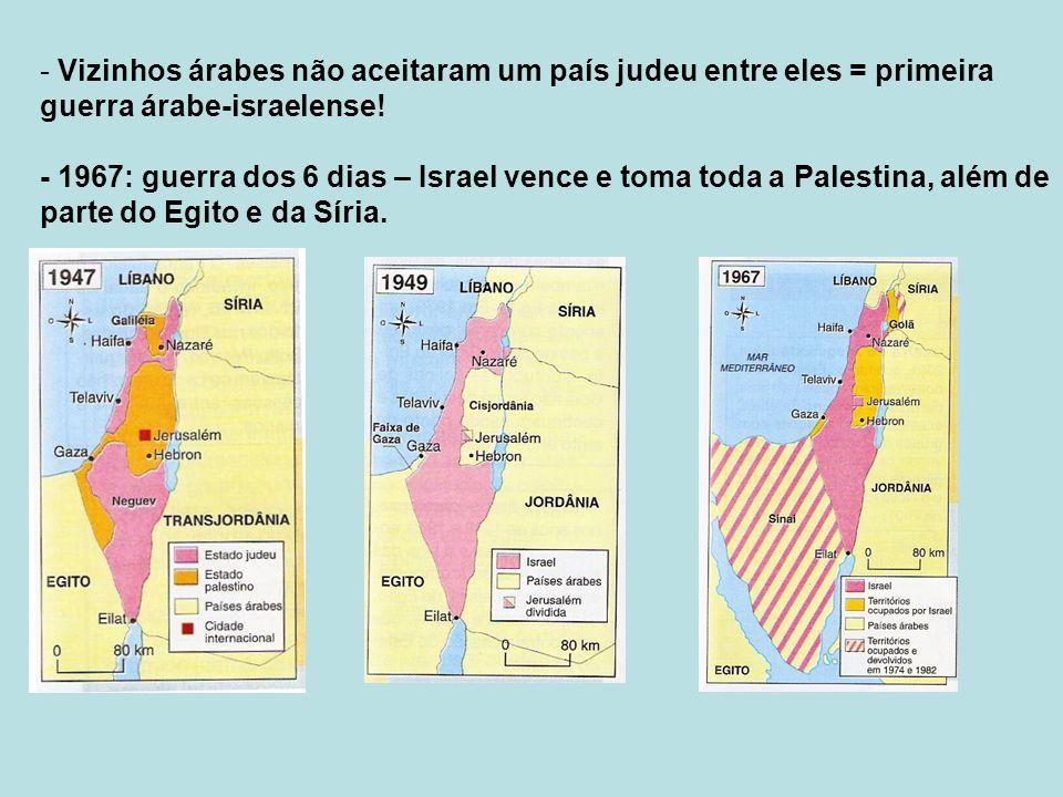 Vizinhos árabes não aceitaram um país judeu entre eles = primeira guerra árabe-israelense!