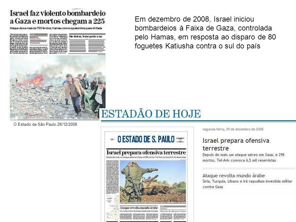 Em dezembro de 2008, Israel iniciou bombardeios à Faixa de Gaza, controlada pelo Hamas, em resposta ao disparo de 80 foguetes Katiusha contra o sul do país