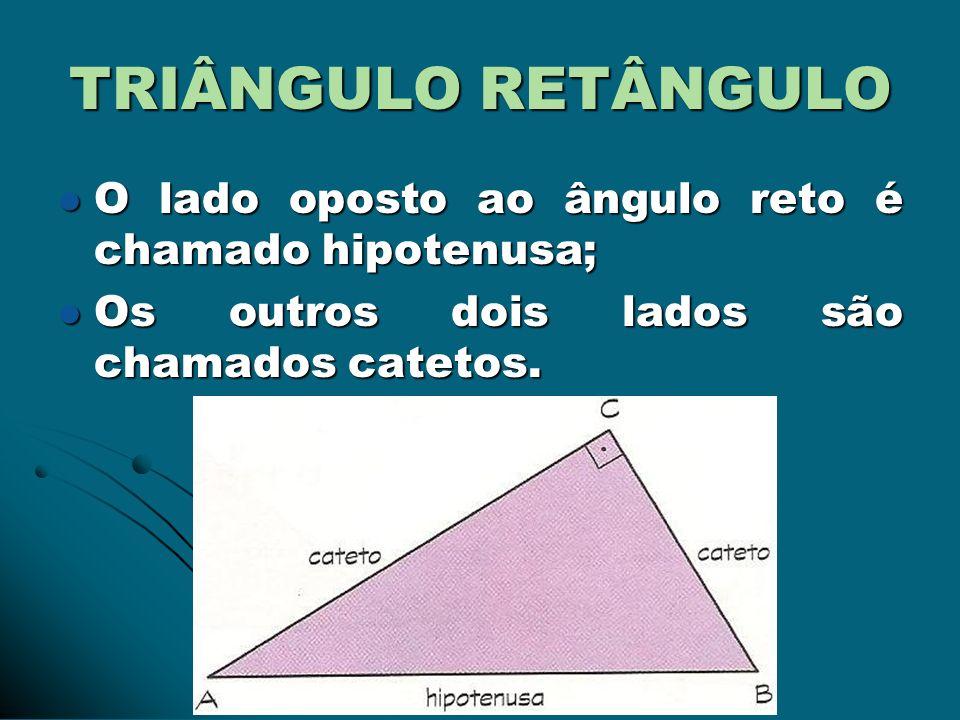 TRIÂNGULO RETÂNGULO O lado oposto ao ângulo reto é chamado hipotenusa;