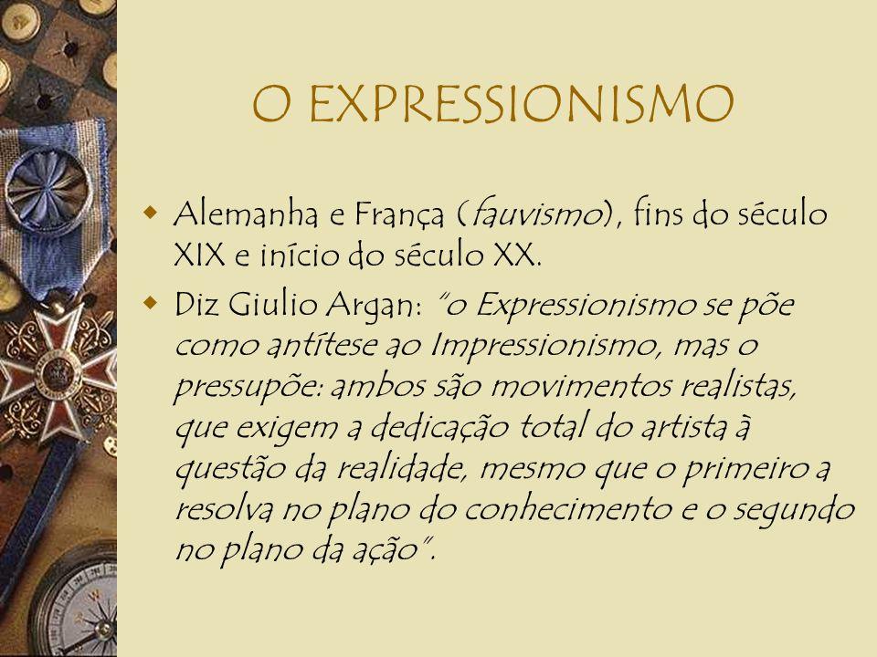 O EXPRESSIONISMOAlemanha e França (fauvismo), fins do século XIX e início do século XX.