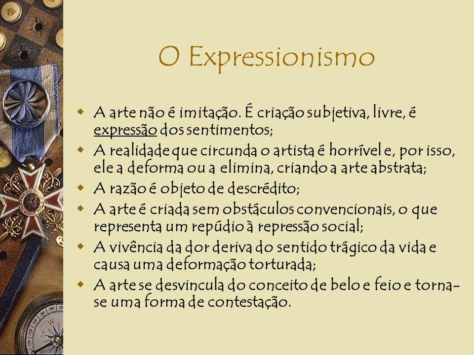 O Expressionismo A arte não é imitação. É criação subjetiva, livre, é expressão dos sentimentos;