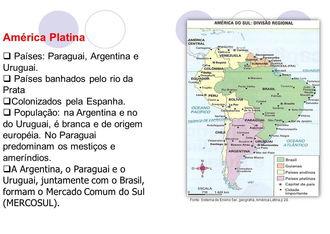 América Platina Países: Paraguai, Argentina e Uruguai.