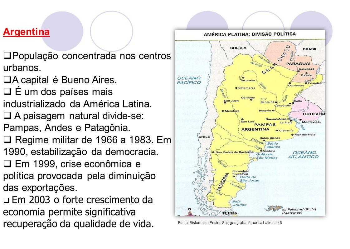 População concentrada nos centros urbanos. A capital é Bueno Aires.