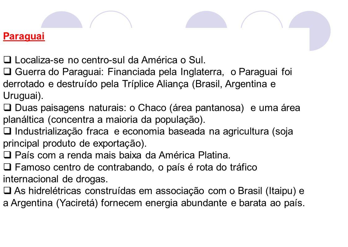 Paraguai Localiza-se no centro-sul da América o Sul.
