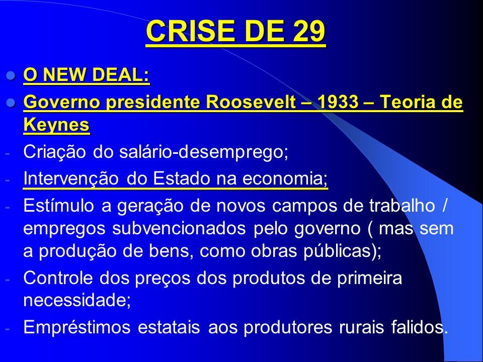 CRISE DE 29 O NEW DEAL: Governo presidente Roosevelt – 1933 – Teoria de Keynes. Criação do salário-desemprego;