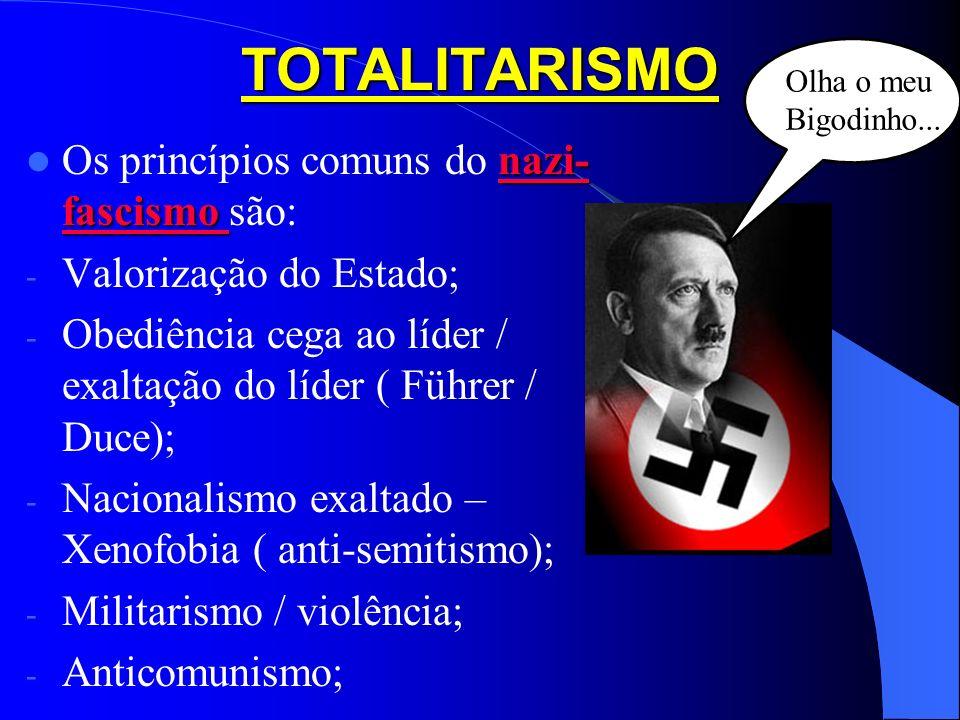 TOTALITARISMO Os princípios comuns do nazi-fascismo são: