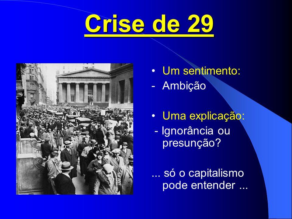 Crise de 29 Um sentimento: Ambição Uma explicação:
