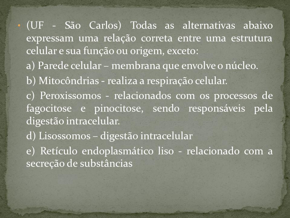 (UF - São Carlos) Todas as alternativas abaixo expressam uma relação correta entre uma estrutura celular e sua função ou origem, exceto:
