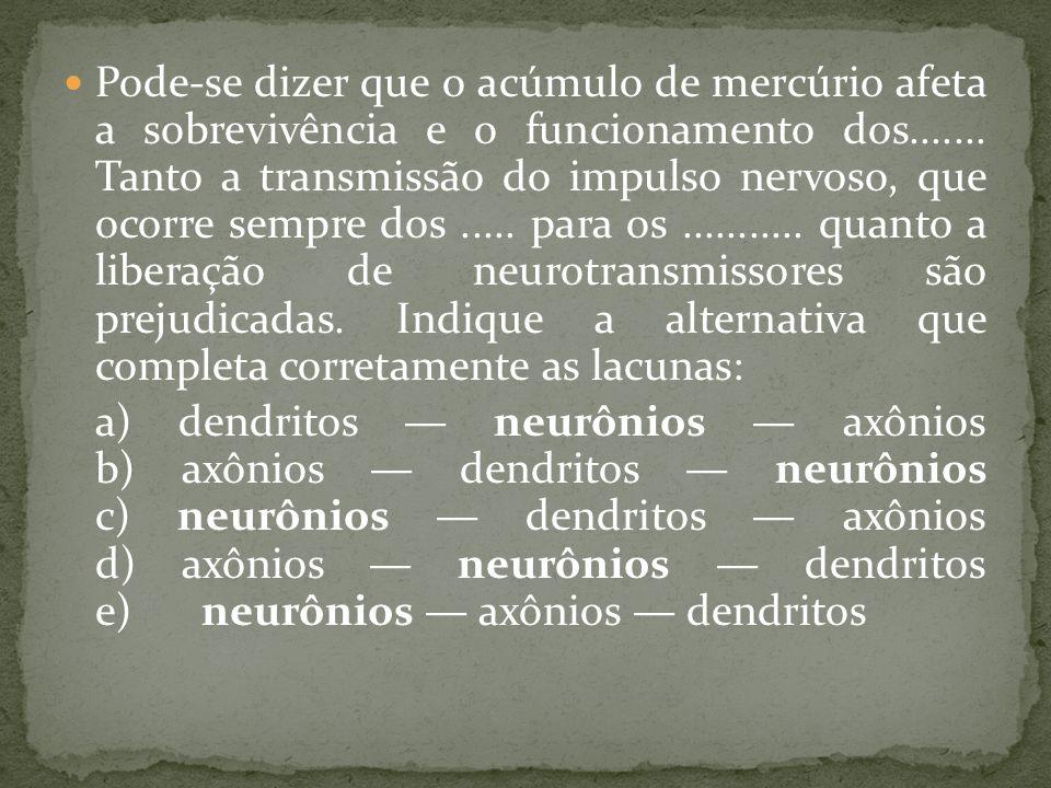 Pode-se dizer que o acúmulo de mercúrio afeta a sobrevivência e o funcionamento dos....... Tanto a transmissão do impulso nervoso, que ocorre sempre dos ..... para os ........... quanto a liberação de neurotransmissores são prejudicadas. Indique a alternativa que completa corretamente as lacunas:
