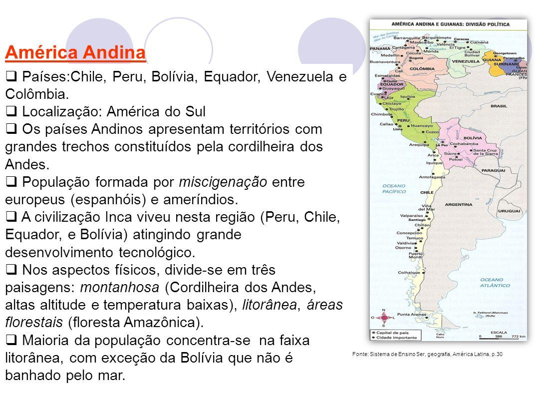 América Andina Países:Chile, Peru, Bolívia, Equador, Venezuela e Colômbia. Localização: América do Sul.