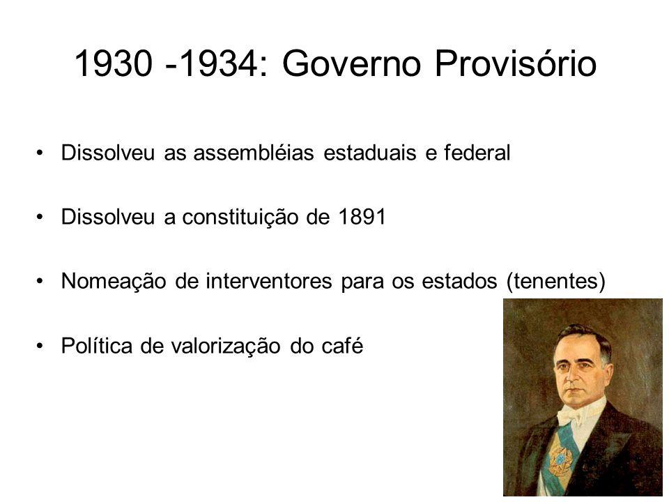 1930 -1934: Governo Provisório Dissolveu as assembléias estaduais e federal. Dissolveu a constituição de 1891.