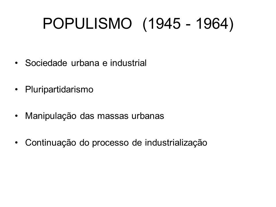 POPULISMO (1945 - 1964) Sociedade urbana e industrial