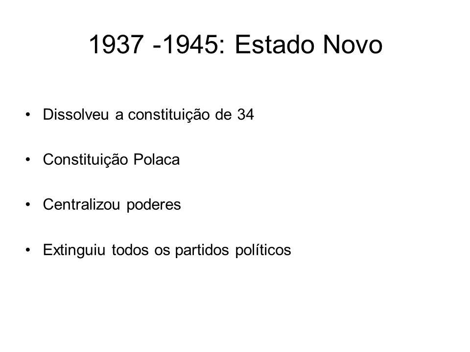 1937 -1945: Estado Novo Dissolveu a constituição de 34