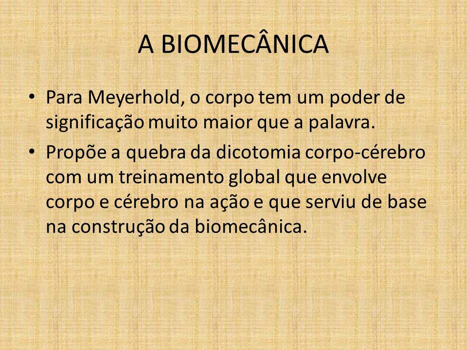 A BIOMECÂNICA Para Meyerhold, o corpo tem um poder de significação muito maior que a palavra.