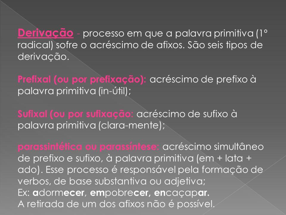 Derivação - processo em que a palavra primitiva (1º radical) sofre o acréscimo de afixos. São seis tipos de derivação.