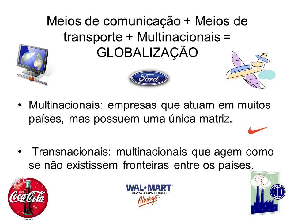 Meios de comunicação + Meios de transporte + Multinacionais = GLOBALIZAÇÃO