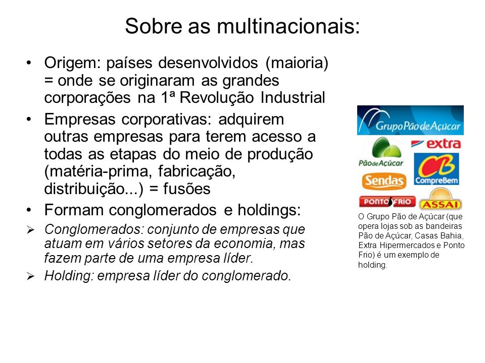 Sobre as multinacionais: